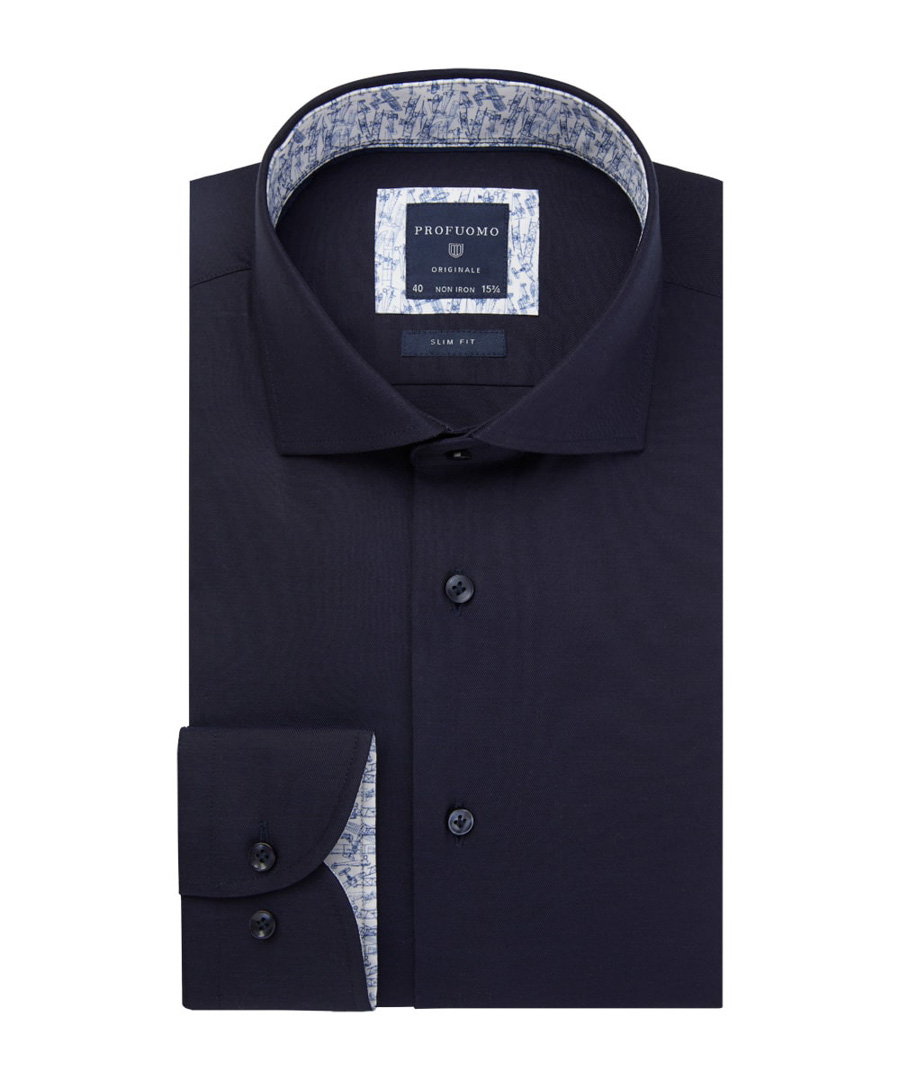 Profuomo Overhemd donkerblauw slim fit PPRH1A1002/P - Maat 42