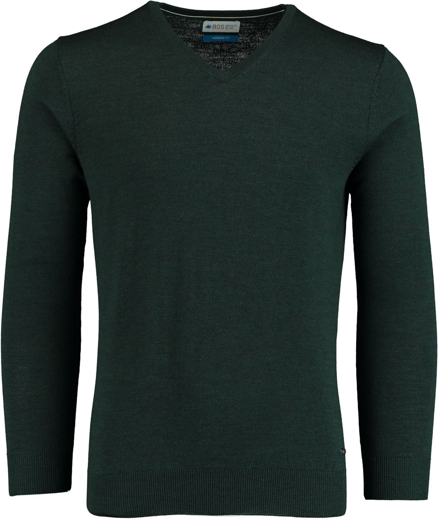 Bos Bright Blue Aron V-neck Pullover ARBO forest