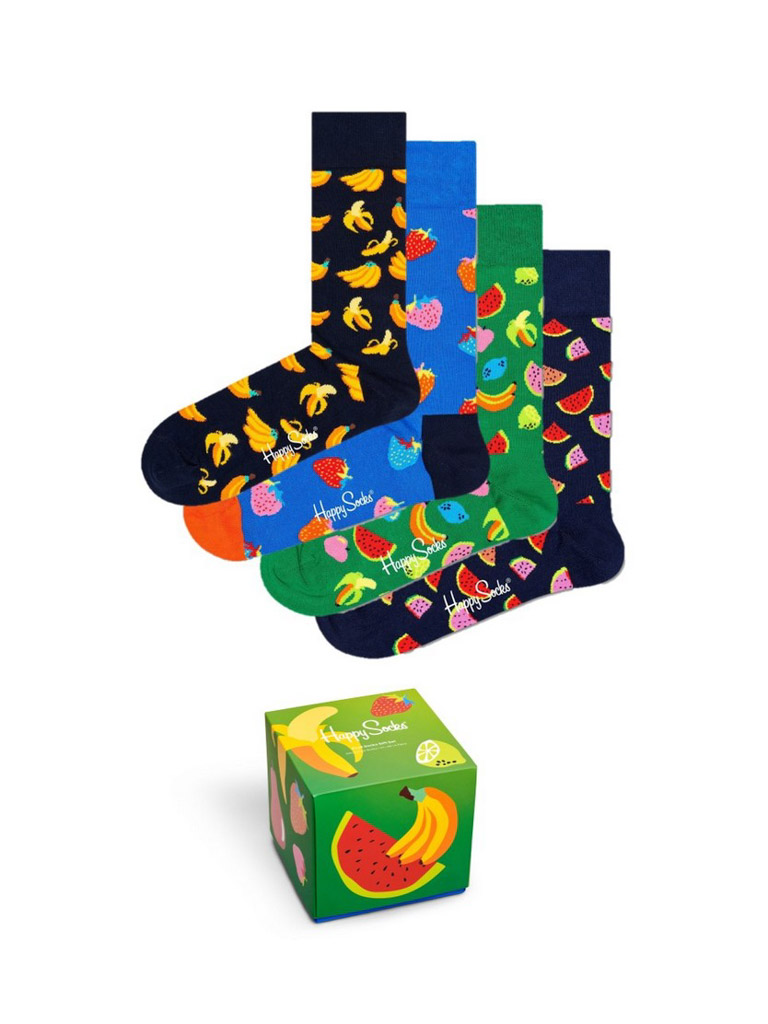 Happy Socks Fruit 4pack Gift Box cadeaubox XFRU09/6500 - Maat 41-46