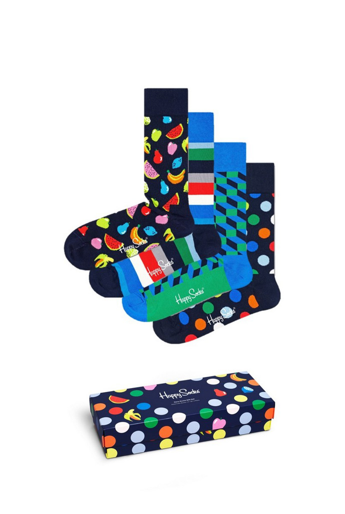 Happy Socks Navy 4-pack Gift Box cadeaubox XNAV09/6600 - Maat 41-46