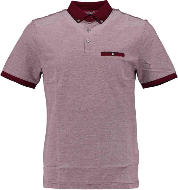 Born with Appetite Tim - Jacquard Polo Double Me 18108TI38/677 wine red