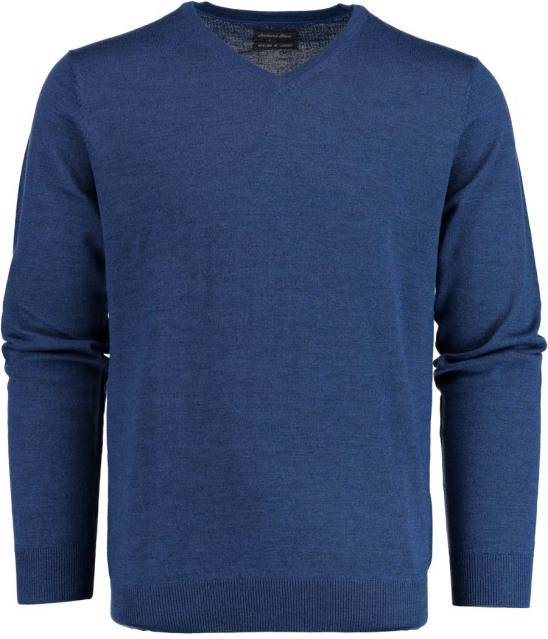 Bos Bright Blue Aron V-neck Pullover Flat Kni 19105AR19/268 jeans blue