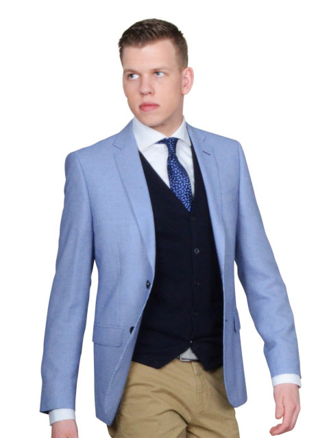 Bos Bright Blue Napoli Modern Fit Colbert Gelsolino/903