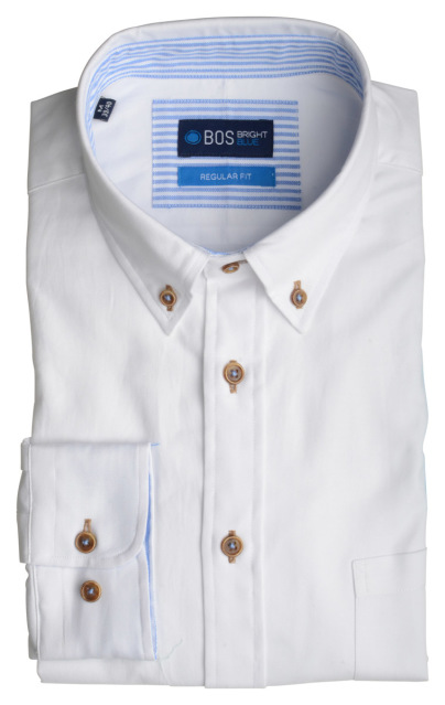 Bos Bright Blue Overhemd wit met structuur 20107WI01BO/100 White