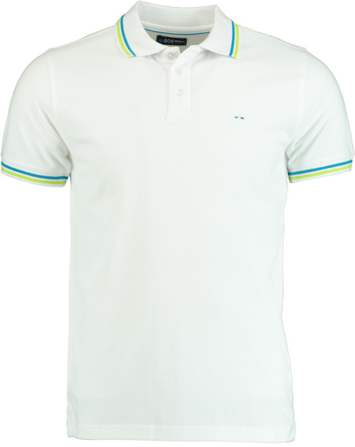 Bos Bright Blue Polo pique wit regular fit 19108SU41BO/100 White