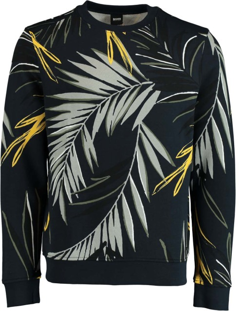 Hugo Boss Pullover Weleaf Print Donkerbl 50426146/404